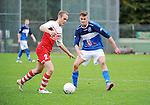 2015-10-25 / Voetbal / Seizoen 2015-2016 / FC Turnhout - KV Vosselaar / Arno Van Hove met Steven Van de Vreede (r. FC Trunhout)<br /><br />Foto: Mpics.be