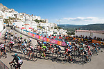 The peloton round one of the final corners near the end of Stage 8 of the 100th edition of the Giro d'Italia 2017, running 189km from Molfetta to Peschici, Italy. 1th May 2017.<br /> Picture: LaPresse/Massimo Paolone | Cyclefile<br /> <br /> <br /> All photos usage must carry mandatory copyright credit (&copy; Cyclefile | LaPresse/Massimo Paolone)