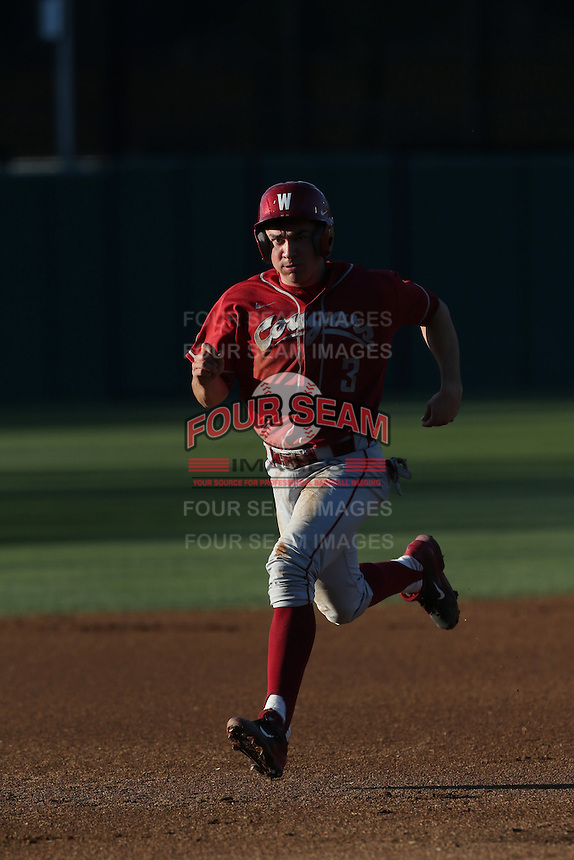 Shea Donlin (3) of the Washington State Cougars runs the bases during a game against the Southern California Trojans at Dedeaux Field on March 13, 2015 in Los Angeles, California. Southern California defeated Washington State, 10-3. (Larry Goren/Four Seam Images)