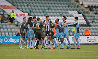 A brawl between the players during the Sky Bet League 2 match between Plymouth Argyle and Wycombe Wanderers at Home Park, Plymouth, England on 30 January 2016. Photo by Mark  Hawkins / PRiME Media Images.