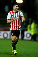 Neal Maupay, scorer of Brentford's only goal, celebrates at the final whistle during Brentford vs Aston Villa, Sky Bet EFL Championship Football at Griffin Park on 13th February 2019