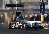 Feb. 22, 2013; Chandler, AZ, USA; NHRA top fuel dragster driver Spencer Massey during qualifying for the Arizona Nationals at Firebird International Raceway. Mandatory Credit: Mark J. Rebilas-