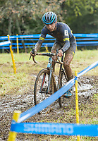 NWA Democrat-Gazette/BEN GOFF @NWABENGOFF<br /> Dylan Zakrajsek of Lake Geneva Youth Cycling competes in the UCI Junior Men race Sunday, Oct. 6, 2019, during the the Fayettecross cyclocross races at Centennial Park at Millsap Mountain in Fayetteville. Zakrajsek placed second in the race.