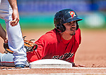 31 May 2018: Portland Sea Dogs infielder Jeremy Rivera dives safely back to first in the first inning against the New Hampshire Fisher Cats at Northeast Delta Dental Stadium in Manchester, NH. The Sea Dogs rallied to defeat the Fisher Cats 12-9 in extra innings. Mandatory Credit: Ed Wolfstein Photo *** RAW (NEF) Image File Available ***