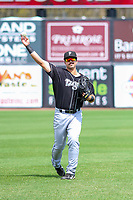 Lansing Lugnuts outfielder Brock Lundquist (33) warms up in the outfield prior to a Midwest League game against the Wisconsin Timber Rattlers on May 8, 2018 at Fox Cities Stadium in Appleton, Wisconsin. Lansing defeated Wisconsin 11-4. (Brad Krause/Four Seam Images)