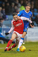 Ashley Hunter of Fleetwood Town under pressure from Lee Martin of Gillingham during the Sky Bet League 1 match between Gillingham and Fleetwood Town at the MEMS Priestfield Stadium, Gillingham, England on 27 January 2018. Photo by David Horn.