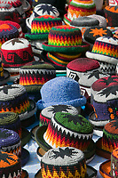 Market day in Otavalo, Ecuador (pop. 28,000) where Amerindians from the surrounding villages gather to sell produce, livestock, woolen goods and other handicrafts.