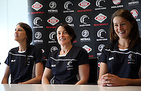10.12.2015 Silver Ferns Anna Harrison, coach Janine Southby and Jess Moulds at a press conference  today in Auckland. Mandatory Photo Credit ©Michael Bradley.