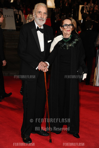 Sir Christopher Lee arriving for the Royal World Premiere of 'Skyfall' at Royal Albert Hall, London. 23/10/2012 Picture by: Steve Vas / Featureflash