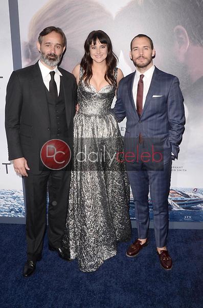 "Baltasar Kormakur, Shailene Woodley, Sam Claflin<br /> at the ""Adrift"" World Premiere, Regal Cinemas L.A. Live, Los Angeles, CA 05-23-18<br /> David Edwards/DailyCeleb.com 818-249-4998"
