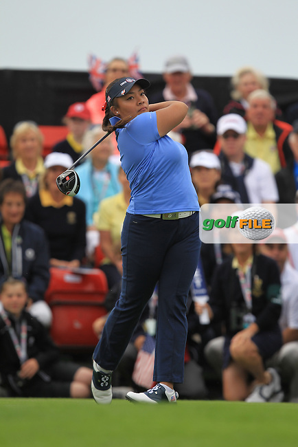 Mariel Galdiano on the 1st tee during the Friday morning Foursomes of the 2016 Curtis Cup at Dun Laoghaire Golf Club on Friday 10th June 2016.<br /> Picture:  Golffile | Thos Caffrey