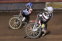 Heat 6 re-run: Kim Nilsson (blue) and Krzysztof Buczkowski - Lakeside Hammers vs Peterborough Panthers - Sky Sports Elite League Speedway at Arena Essex Raceway, Purfleet - 14/09/12 - MANDATORY CREDIT: Gavin Ellis/TGSPHOTO - Self billing applies where appropriate - 0845 094 6026 - contact@tgsphoto.co.uk - NO UNPAID USE.
