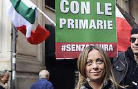 Roma, 26 Novembre 2012.Via dell'Umiltà.Militanti del PDL manifestano davanti la sede del PDL per chiedere le primarie nel centro destra.Nella foto Giorgia Meloni