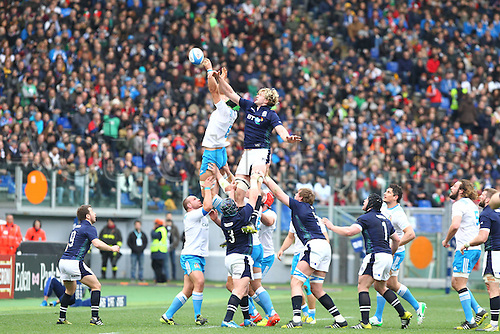 27.02.2016. Stadio Olimpico, Rome, Italy. RBS Six Nations Championships. Italy versus Scotland. TUSH wins the line-out