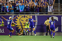 Orlando, Florida - Sunday, May 14, 2016: Orlando Pride forward Alex Morgan (13)  celebrates scoring with midfielder Lianne Sanderson (10) during a National Women's Soccer League match between Orlando Pride and New York Flash at Camping World Stadium.