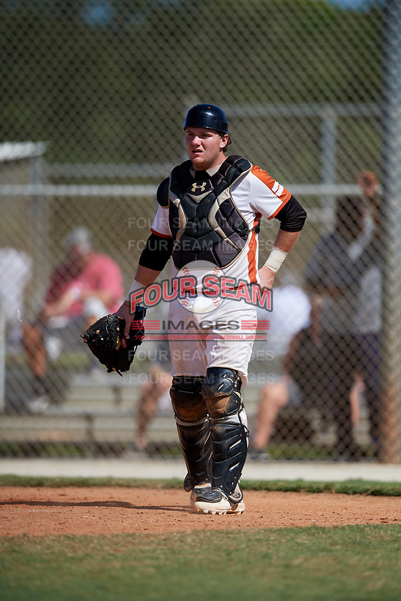 David Howarth during the WWBA World Championship at the Roger Dean Complex on October 20, 2018 in Jupiter, Florida.  David Howarth is a catcher from Wall, New Jersey who attends Wall High School and is committed to Northeastern.  (Mike Janes/Four Seam Images)