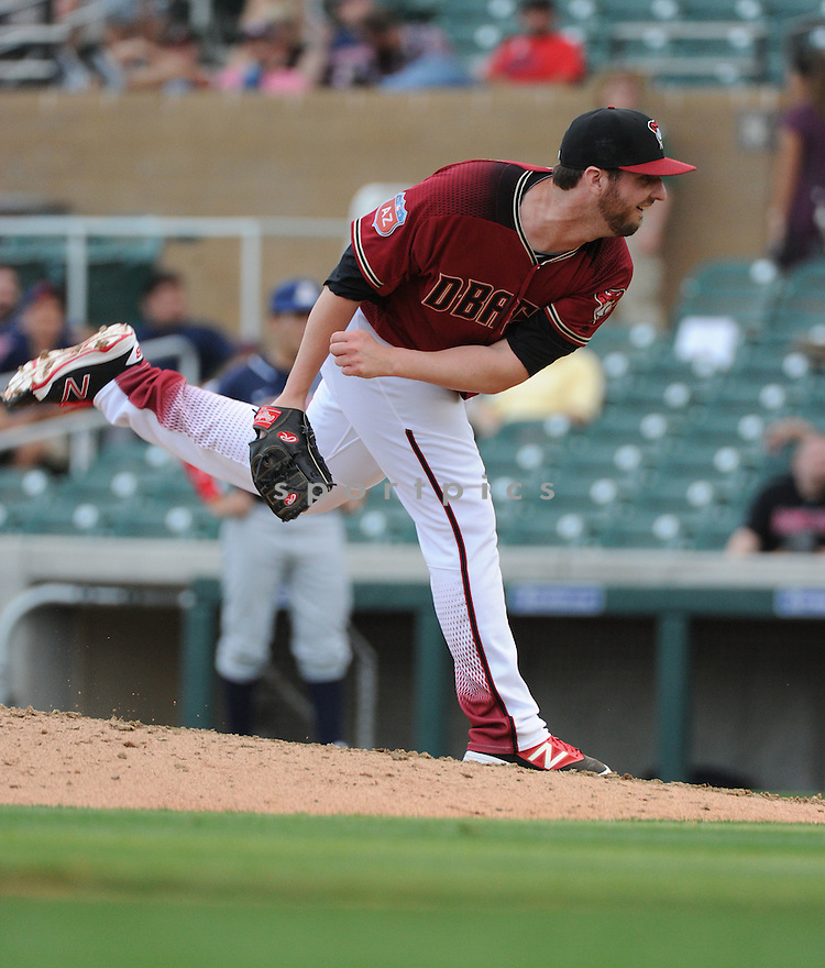 Arizona Diamondbacks Keith Hessler (56) during a preseason game against the Arizona Wildcats on March 1, 2016 at Salt River Fields at Talking Stick in Scottsdale, AZ. The Diamondbacks beat the Wildcats 5-12..