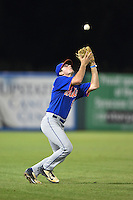 O'Neal Lochridge (27) of St. Thomas More High School in Lafayette, Louisiana playing for the New York Mets scout team during the East Coast Pro Showcase on July 31, 2014 at NBT Bank Stadium in Syracuse, New York.  (Mike Janes/Four Seam Images)