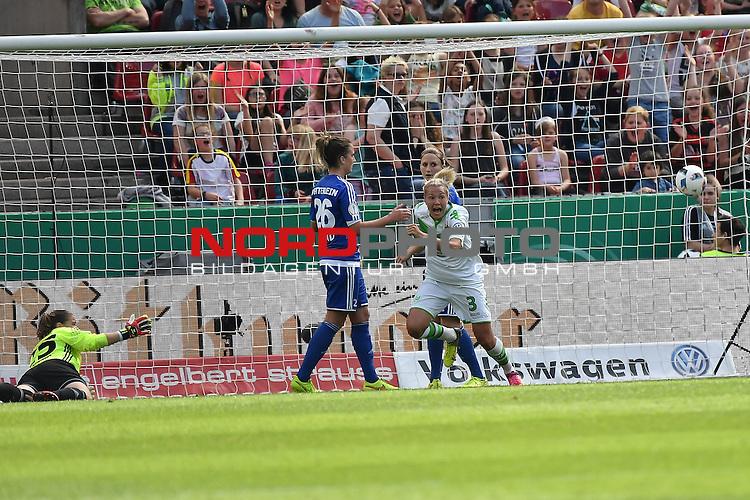21.05.2016, RheinEnergie Stadion, Koeln, GER, DFB Pokal Finale Frauen 2015/2016  SC Sand vs VfL Wolfsburg  <br /> im Bild / picture shows: <br /> der Ball fliegt ins Tor wird aber nicht gewertet <br /> Zsanett Jakabfi ( VFL Wolfsburg #03 ) freut sich <br /> <br /> <br /> Foto &copy; nordphoto / meuter