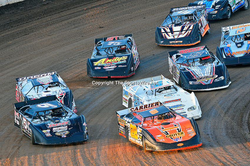 May 25, 2013; 7:34:27 PM; Wheatland, Mo., USA; The  Lucas Oil Late Model Dirt Series running the 21st Annual Lucas Oil Show-Me 100 Presented by ProtectTheHarvest.com.  Mandatory Credit: (thesportswire.net)