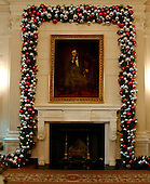 """Washington, D.C. - November 30, 2006 -- The 2006 White House Holiday Decorations were previewed for the press in Washington, D.C. on Thursday, November 30, 2006.  This year's theme is """"Deck the Halls and Welcome All"""".   In all, it is expected that 45,000 guests will tour the White House during the holidays..Credit: Ron Sachs / CNP"""