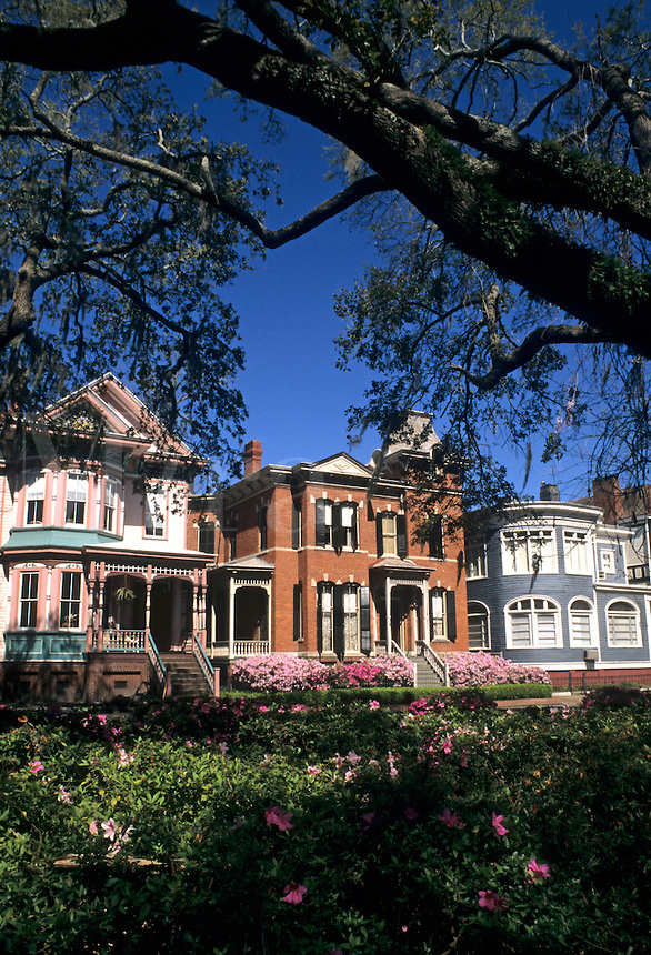 Restored Southern Victorian homes Savannah, Georgia, USA