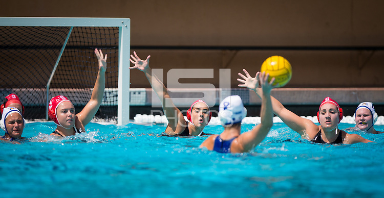 STANFORD, CA - April 20, 2019: Bella Baldridge, Kayla Constandse, Chloe Harbilas at Avery Aquatic Center. The #1 Stanford Cardinal took down the #20 San Jose State Spartans 22-4.