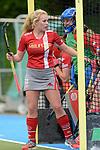 GER - Mannheim, Germany, April 22: During the German Hockey Bundesliga women match between Mannheimer HC (blue) and Club an der Alster (red) on April 22, 2017 at Am Neckarkanal in Mannheim, Germany. Final score 1-1 (HT 1-0).  Emily Kerner #22 of Club an der Alster<br /> <br /> Foto &copy; PIX-Sportfotos *** Foto ist honorarpflichtig! *** Auf Anfrage in hoeherer Qualitaet/Aufloesung. Belegexemplar erbeten. Veroeffentlichung ausschliesslich fuer journalistisch-publizistische Zwecke. For editorial use only.