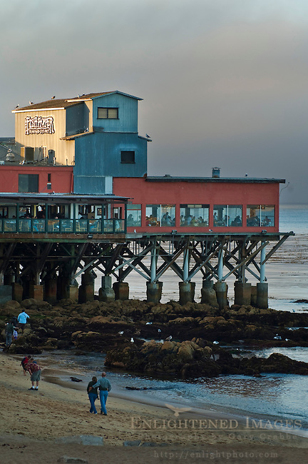 Restaurant and old cannery building along the shore at historic Cannery Row, Monterey, California