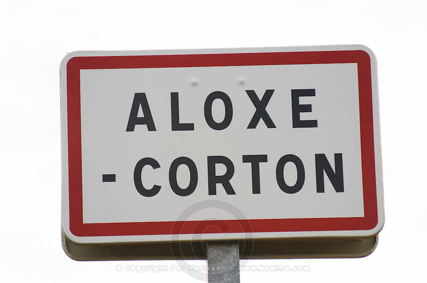 Street sign. Aloxe Corton, Cote de Beaune, d'Or, Burgundy, France