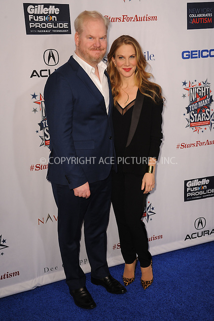 WWW.ACEPIXS.COM<br /> February 28, 2015 New York City<br /> <br /> Jim Gaffigan and Jeannie Noth attending Comedy Central Night Of Too Many Stars at Beacon Theatre on February 28, 2015 in New York City.<br /> <br /> Please byline: Kristin Callahan/AcePictures<br /> <br /> ACEPIXS.COM<br /> <br /> Tel: (646) 769 0430<br /> e-mail: info@acepixs.com<br /> web: http://www.acepixs.com