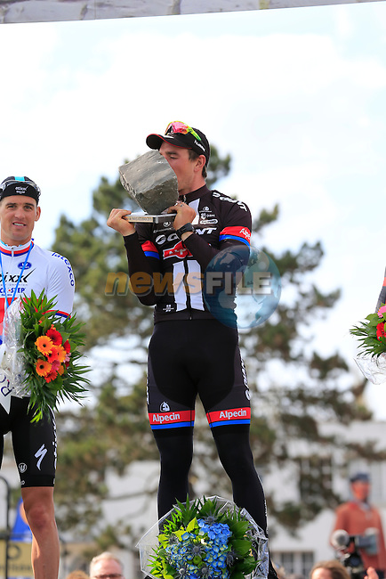 John Degenkolb (GER) Giant-Alpecin wins with Zdenek Stybar (CZE) Etixx-Quick Step in 2nd place and Greg Van Avermaet (BEL) BMC Racing Team in 3rd on the podium in the famous Roubaix Velodrome at the end of the 113th edition of the Paris-Roubaix 2015 cycle race held over the cobbled roads of Northern France. 12th April 2015.<br /> Photo: Eoin Clarke www.newsfile.ie