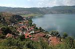 Lin-Pogradec-Albania - August 02, 2004---Partial view of the village of Lin, with its mosque, and the Lake Ohrid; region/village of project implementation by GTZ-Wiram-Albania (German Technical Cooperation, Deutsche Gesellschaft fuer Technische Zusammenarbeit (GTZ) GmbH); landscape---Photo: © HorstWagner.eu