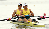 Poznan, POLAND.  2006, FISA, Rowing, World Cup, AUS  W2-  1, bow  Emily MARTIN and Sarah HEARD, moves  away from  the  start, on the Malta  Lake. Regatta Course, Poznan, Thurs. 15.06.2006. © Peter Spurrier   .[Mandatory Credit Peter Spurrier/ Intersport Images] Rowing Course:Malta Rowing Course, Poznan, POLAND