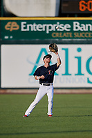 Lowell Spinners center fielder Cole Brannen (18) settles under a fly ball during a game against the Vermont Lake Monsters on August 25, 2018 at Edward A. LeLacheur Park in Lowell, Massachusetts.  Vermont defeated Lowell 4-3.  (Mike Janes/Four Seam Images)