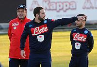 Allenamento del Napoli nel centro sportivo di CastelVolturno<br />  Lorenzo Insigne  Gonzalo Higuain  Maurizio Sarri