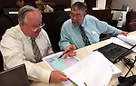 Nevada Assembly Republicans Tom Grady, left, and Pete Goicoechea look over reapportionment maps before a committee hearing Thursday afternoon, May 5, 2011, at Western Nevada College in Carson City, Nev..Photo by Cathleen Allison