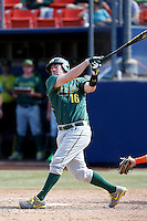 Shaun Chase #16 of the Oregon Ducks bats against the Cal State Fullerton Titans at Goodwin Field on March 3, 2013 in Fullerton, California. (Larry Goren/Four Seam Images)
