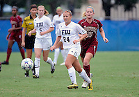 Florida International University women's soccer player Cortney Bergin (24) plays against the University of Denver on October 16, 2011 at Miami, Florida. FIU won the game 1-0. .