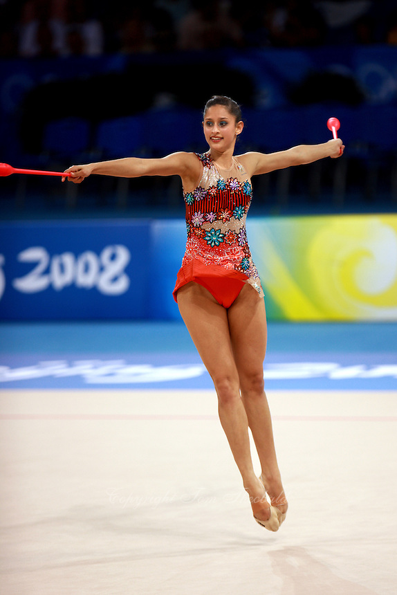 August 22, 2008; Beijing, China; Rhythmic gymnast Naazmi Johnston of Australia performs with clubs on way placing 22nd in qualifying round at 2008 Beijing Olympics. Copyright 2008 Tom Theobald