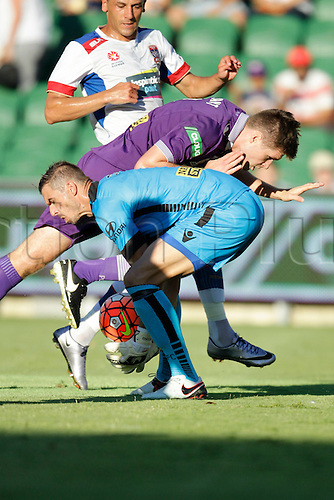 07.03.2016, Perth, Australia. Hyundai A-League, Perth Glory versus Newcastle Jets. Perth Glory goal keeper Ante Covic makes a low save under pressure during the first half.