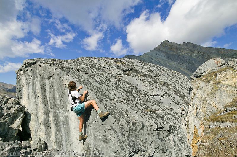 Rock climbing, Brooks range mountains, Arctic National Wildlife Refuge, Alaska