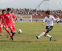 Jack McInerney kicks the ball. US Under-17 Men's National Team defeated United Arab Emirates 1-0 at Gateway International  Stadium in Ijebu-Ode, Nigeria on November 1, 2009.