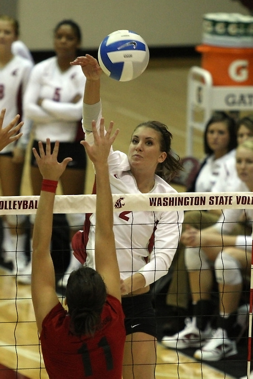 Jackie Albright (#2) is shown during a Washington State volleyball match at Bohler Gym in Pullman, Washington, on September 11, 2009.