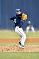 Asheville Tourists starting pitcher Nick Bush (29) delivers a pitch during a game against the Charleston RiverDogs at McCormick Field on May 23, 2019 in Asheville, North Carolina. The RiverDogs defeated the Tourists 7-5. (Tony Farlow/Four Seam Images)