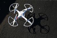 Feb 4, 2016; Chandler, AZ, USA; Detailed view of a radio controlled drone quadcopter during NHRA pre season testing at Wild Horse Pass Motorsports Park. Mandatory Credit: Mark J. Rebilas-USA TODAY Sports