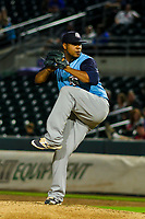 Colorado Springs Sky Sox pitcher Wily Peralta (43) delivers a pitch during game two of a Pacific Coast League doubleheader against the Iowa Cubs on August 17, 2017 at Principal Park in Des Moines, Iowa. Iowa defeated Colorado Springs 6-0. (Brad Krause/Four Seam Images)
