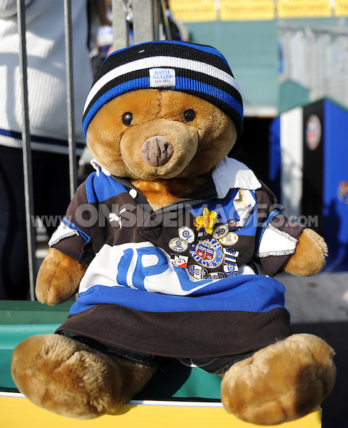 A general view of a Bath Rugby teddy bear. Aviva Premiership match, between Bath Rugby and Harlequins on October 31, 2015 at the Recreation Ground in Bath, England. Photo by: Alex Davidson / JMP for Onside Images