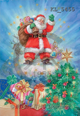 Interlitho, Sue Allison, CHRISTMAS SANTA, SNOWMAN, classical, paintings, santa, cloud, gifts(KL5455,#X#) Weihnachtsmänner, Papá Noel, Weihnachten, Navidad, illustrations, pinturas klassisch, clásico