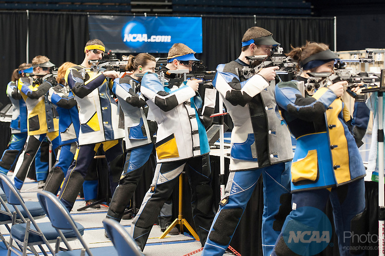 15 MAR 2014: The eight finalists in air rifle take their positions during the Division I Rifle Championship held at the CFSB Center on the Murray State University campus in Murray, KY.  Kyser Lough/NCAA Photos